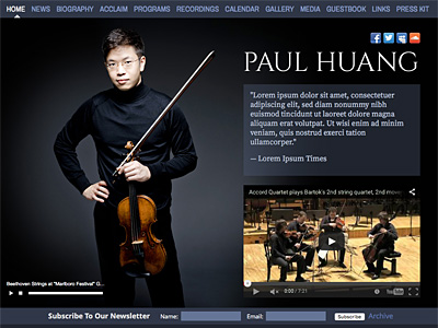 Custom website design for Paul Huang, Violinist