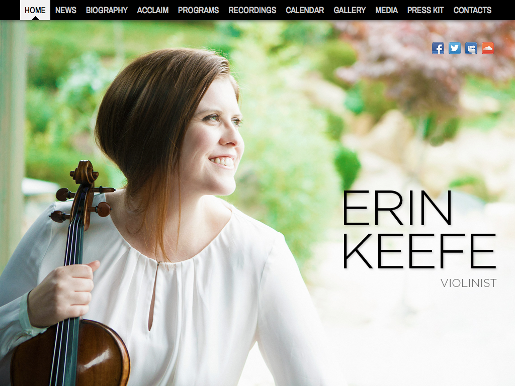 Custom website design for Erin Keefe