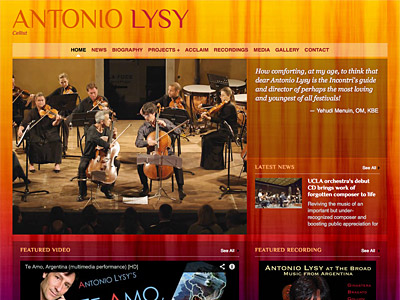 Custom website design for Antonio Lysy