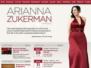 Custom website design for Arianna Zukerman