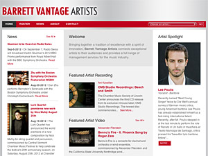 Custom website design for Barrett Vantage Artists
