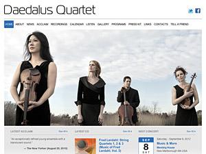 Custom website design for Daedalus Quartet