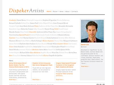 Custom website design for Dispeker Artists