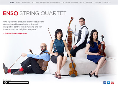 Custom website design for Enso Quartet