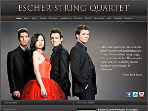 Custom website design for Escher String Quartet