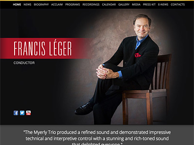 Custom website design for Francis Leger