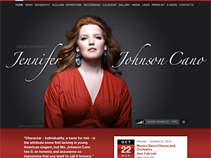 Custom website design for Jennifer Johnson Cano, Mezzo Soprano