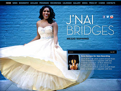 Custom website design for J'nai Bridges