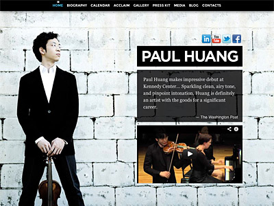 Custom website design for Paul Huang, Violinist