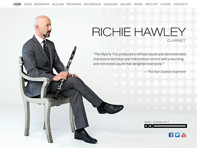 Custom website design for Richie Hawley
