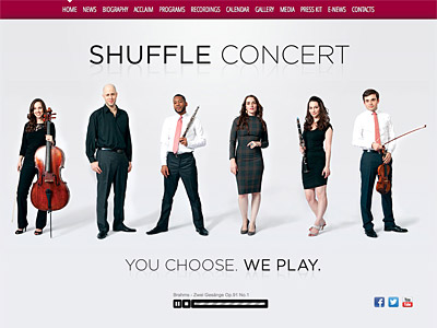 Custom website design for SHUFFLE Concert
