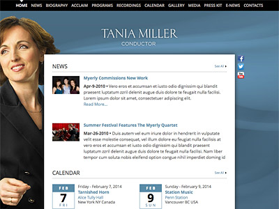 Custom website design for Tania Miller