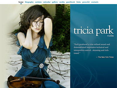 Custom website design for Tricia Park