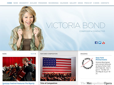 Custom website design for Victoria Bond
