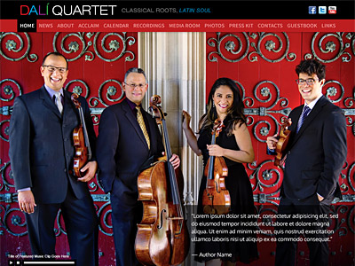 Custom website design for Dali Quartet