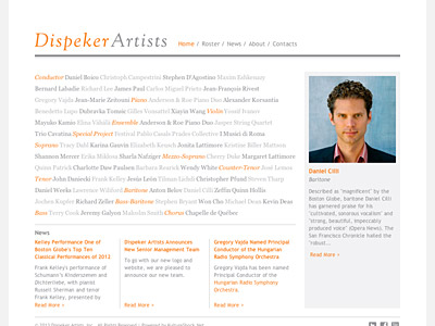 Custom website design for Dispeker Artists