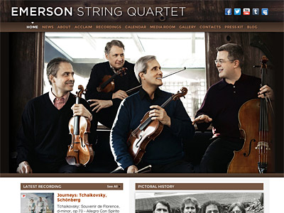 Custom website design for Emerson String Quartet