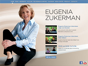 Custom website design for Eugenia Zukerman