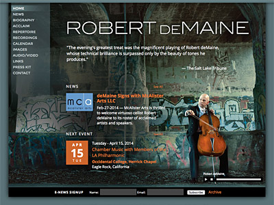 Custom website design for Robert deMaine, Cellist